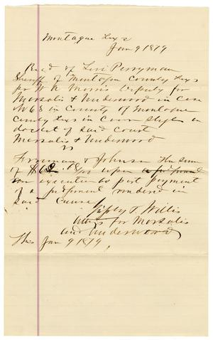 Primary view of [Receipt from Grigsby and Willis to Levi Perryman, January 9, 1879]