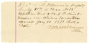 Primary view of object titled '[Receipt from M. A. Williams to W. A. Morris, January 10, 1879]'.