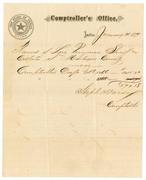 Primary view of [Receipt from Stephen H. Darden  to Levi Perryman, January 10, 1879]