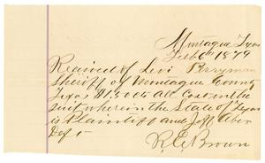 Primary view of object titled '[Receipt of Levi Perryman, February 16, 1879]'.