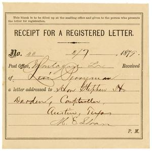 Primary view of object titled '[Receipt of Levi Perryman, Februrary 7,1879]'.