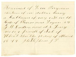 Primary view of object titled '[Receipt of Levi Perryman, March 12, 1879]'.
