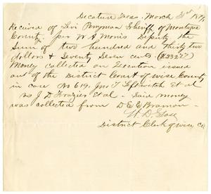 Primary view of object titled '[Receipt of Levi Perryman, March 31, 1879]'.