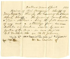 Primary view of [Receipt of Levi Perryman, April, 8, 1879]