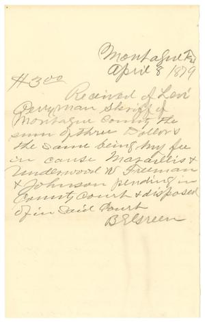 Primary view of object titled '[Receipt of Levi Perryman, April, 8, 1879]'.