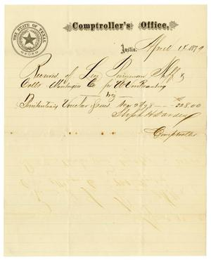 Primary view of object titled '[Receipt of Levi Perryman, April 14,1879]'.