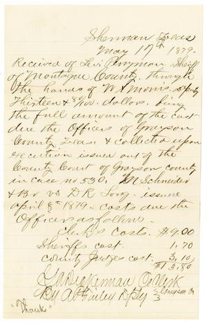 Primary view of object titled '[Receipt of Levi Perryman, May 17, 1879]'.