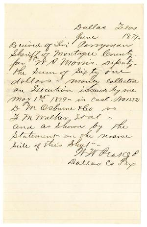 Primary view of object titled '[Receipt of Levi Perryman, June 1879]'.