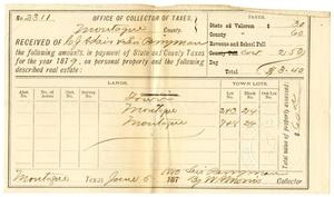 Primary view of object titled '[Receipt of Levi Perryman, June 5, 1880]'.