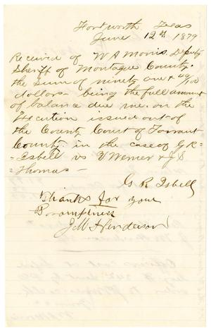 Primary view of object titled '[Receipt of W. A. Morris, June 12, 1879]'.