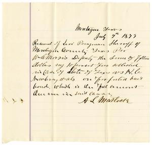 Primary view of object titled '[Receipt of Levi Perryman, July 7, 1879]'.