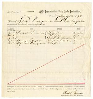 Primary view of object titled '[Receipt of Levi Perryman for Prisoners, July 12, 1879]'.