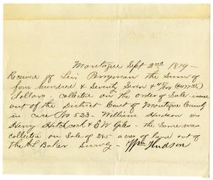 Primary view of object titled '[Receipt of Levi Perryman, September 2, 1879]'.