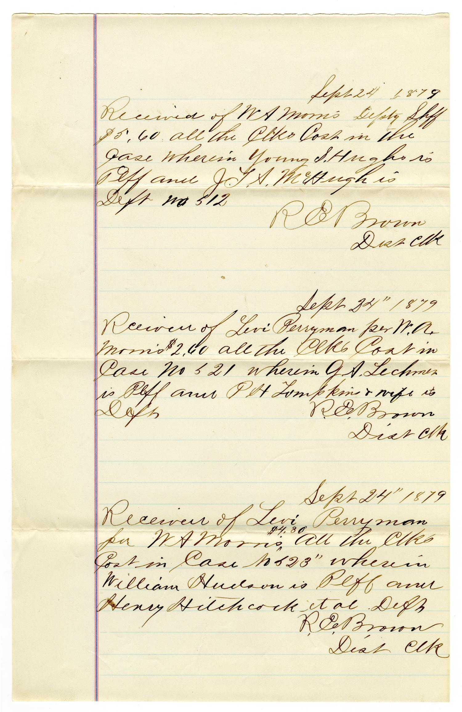 [Receipt of Levi Perryman and W. A. Morris, September 24, 1879]                                                                                                      [Sequence #]: 1 of 2