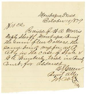 Primary view of object titled '[Receipt of W. A. Morris, October 15, 1879]'.