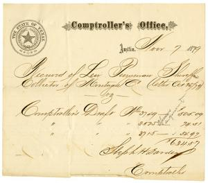 Primary view of object titled '[Receipt of Levi Perryman, November 7, 1879]'.