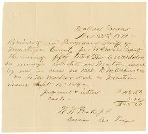 Primary view of object titled '[Receipt of Levi Perryman, November 22, 1879]'.