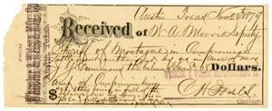 Primary view of object titled '[Receipt of W. A. Morris, November 28, 1879]'.