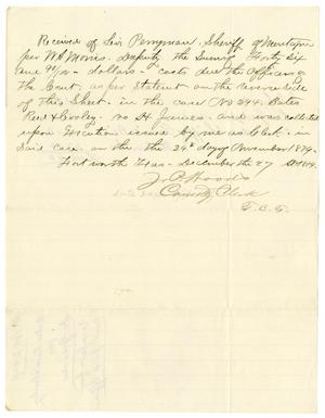 Primary view of object titled '[Receipt of Levi Perryman, December 27, 1879]'.