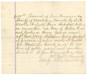 Primary view of object titled '[Receipt of Levi Perryman, December 19, 1879]'.