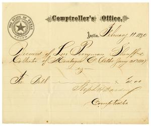 Primary view of object titled '[Receipt of Levi Perryman, February 11, 1880]'.
