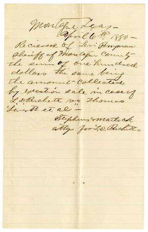 Primary view of object titled '[Receipt of Levi Perryman, April 6, 1880]'.
