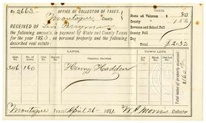 Primary view of [Receipt for taxes paid, April 26, 1881]