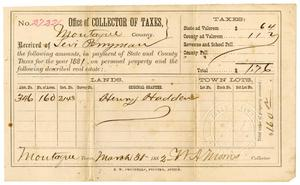 Primary view of object titled '[Receipt for taxes, March 31, 1882]'.