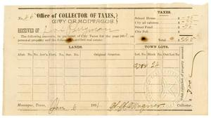 Primary view of object titled '[Receipt for taxes, January 6, 1891]'.