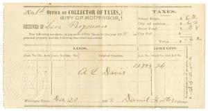 Primary view of object titled '[Receipt for taxes paid, December 20, 1892]'.