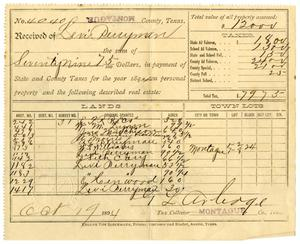 Primary view of object titled '[Receipt for taxes paid, October 19, 1894]'.