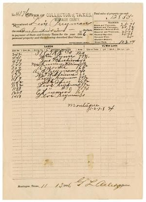 Primary view of object titled '[Receipt of Payment of Taxes, November 13, 1896]'.