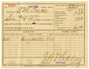 Primary view of object titled '[Receipt for taxes paid, December 17, 1900]'.