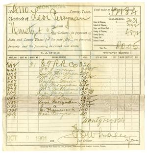 Primary view of object titled '[Receipt for taxes paid, October 9, 1901]'.