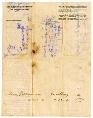 Primary view of object titled '[Subscription renewal, November 26, 1911]'.