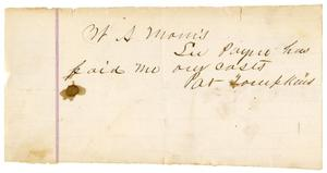 Primary view of object titled '[Receipt from W. A. Morris to Pat Tompkins, undated]'.