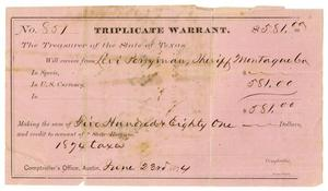 Primary view of object titled '[Triplicate Warrant, June 23, 1874]'.