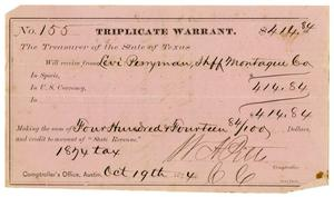 Primary view of object titled '[Triplicate Warrant, October 19th, 1874]'.
