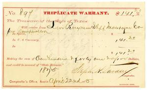 Primary view of object titled '[Triplicate Warrant, April 22, 1875]'.