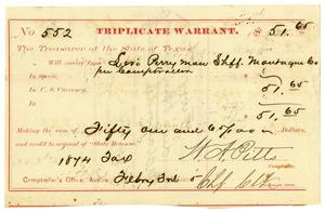 Primary view of object titled '[Triplicate Warrant, February 3, 1875]'.