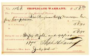 Primary view of [Triplicate Warrant, July 23, 1875]