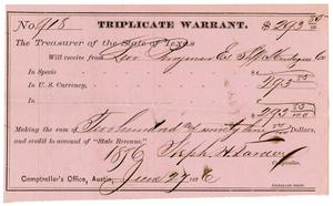 Primary view of object titled '[Triplicate Warrant, June 27, 1876]'.