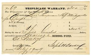Primary view of object titled '[Triplicate Warrant, February 19, 1879]'.