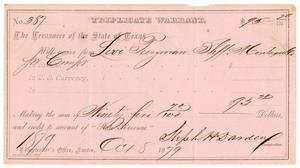 Primary view of object titled '[Triplicate Warrant, October 8, 1879]'.