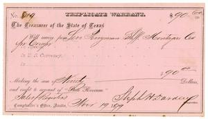 Primary view of object titled '[Triplicate Warrant, November 19, 1879]'.