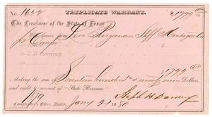 Primary view of [Triplicate Warrant, January 21, 1880]