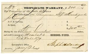 Primary view of object titled '[Triplicate Warrant, January 21, 1880]'.