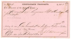 Primary view of object titled '[Triplicate Warrant, February 13, 1880]'.