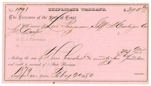 Primary view of object titled '[Triplicate Warrant, February 20, 1880]'.