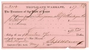 Primary view of object titled '[Triplicate Warrant, May 8, 1880]'.